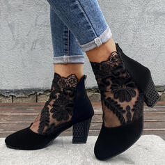 Women's Suede Chunky Heel Ankle Boots Low Top Pointed Toe With Applique Stitching Lace Zipper Floral shoes