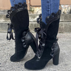 Women's PU Chunky Heel Boots Mid-Calf Boots Round Toe With Ruched Lace-up shoes