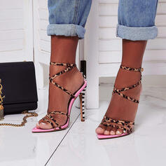 Women's PU Stiletto Heel Sandals Pumps Peep Toe Pointed Toe With Animal Print Hollow-out shoes