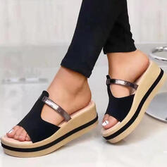 Women's Real Leather Wedge Heel Sandals Platform Wedges Peep Toe Slippers With Hollow-out Split Joint shoes