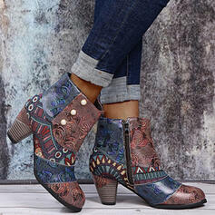 Women's PU Chunky Heel Ankle Boots Low Top Heels With Imitation Pearl Zipper Floral shoes