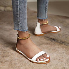 Women's PU Flat Heel Sandals Flats Peep Toe Round Toe With Beading Solid Color shoes
