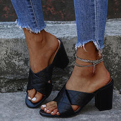 Women's PU Chunky Heel Sandals Pumps Peep Toe Slippers Heels With Rhinestone Solid Color Crisscross shoes