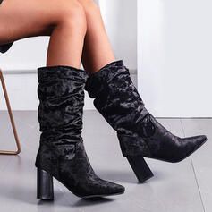 Women's Leatherette Chunky Heel Boots Mid-Calf Boots With Solid Color shoes