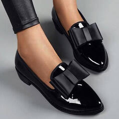 Women's PU Chunky Heel Pumps Low Top With Bowknot Solid Color shoes