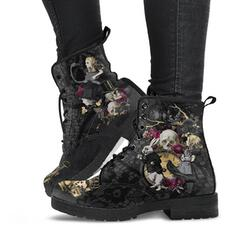 Women's Leatherette Mesh Low Heel Ankle Boots Low Top Combat Boots With Lace-up Flower shoes