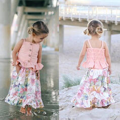 2-pieces Baby Girl Ruffle Floral Print Set
