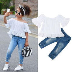 2-pieces Toddler Girl Ruffle Lace Denim Sets