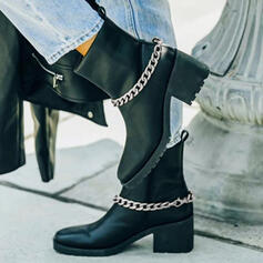Women's PU Chunky Heel Boots Martin Boots Heels Round Toe With Chain Solid Color shoes