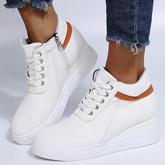 Women's PU Wedge Heel Wedges Ankle Boots Round Toe With Lace-up Colorblock shoes