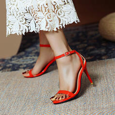 Women's PU Stiletto Heel Sandals Pumps Peep Toe With Hollow-out Solid Color shoes