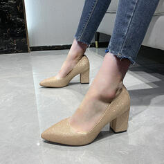 Women's Sparkling Glitter Chunky Heel Pumps Low Top Pointed Toe With Sequin Solid Color shoes