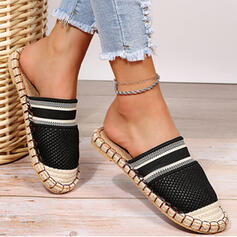 Women's PU Flat Heel Flats Round Toe Mules With Splice Color shoes