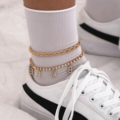 Fashionable Vintage Alloy With Gold Plated Women's Ladies' Anklets 3 PCS