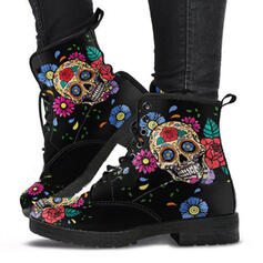 Women's PU Chunky Heel Ankle Boots Martin Boots Low Top With Lace-up Flower shoes