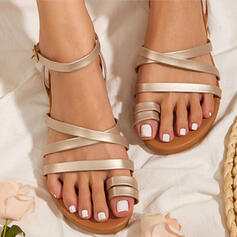 Women's PU Flat Heel Sandals Peep Toe Toe Ring With Solid Color shoes