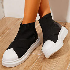 Women's Cloth Flat Heel Boots Mid-Calf Boots High Top Round Toe Sock Boots With Splice Color shoes