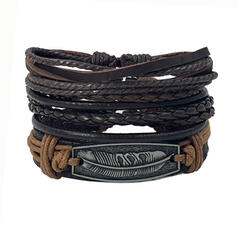 Boho Alloy Leather With Feather Tag Bracelets 3 PCS