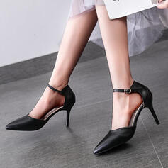 Women's Leatherette Stiletto Heel Pumps Low Top Pointed Toe With Buckle shoes