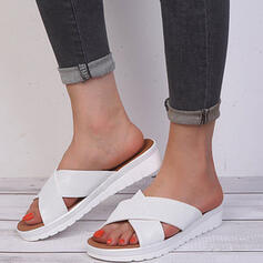 Women's Cloth Flat Heel Sandals Platform Peep Toe Slippers With Solid Color Crisscross shoes
