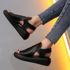 Women's PU Flat Heel Sandals Flats Round Toe With Solid Color shoes