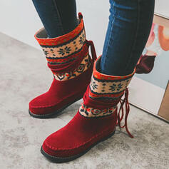 Women's Suede PU Flat Heel Mid-Calf Boots Snow Boots Round Toe With Tassel Splice Color shoes