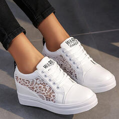 Women's Lace PU Others Flats Round Toe With Lace-up Flower shoes