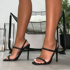 Women's PU Stiletto Heel Sandals Pumps Peep Toe With Hollow-out shoes