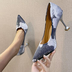 Women's PU Stiletto Heel Pumps Pointed Toe With Rhinestone Splice Color shoes