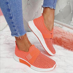 Women's Flying Weave Flat Heel Flats Low Top Round Toe Slip On With Velcro Splice Color shoes