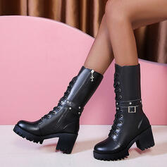 Women's PU Chunky Heel Mid-Calf Boots Martin Boots Round Toe With Buckle Zipper Lace-up shoes