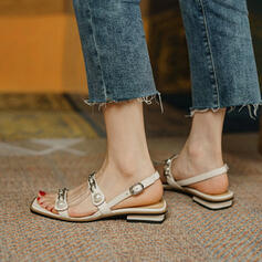 Women's PU Low Heel Sandals Flats Peep Toe Square Toe With Imitation Pearl Satin Flower Buckle Solid Color shoes