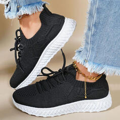 Women's Flying Weave Others Flats Round Toe Sneakers With Lace-up Solid Color shoes