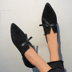 Women's Suede Flat Heel Slip On With Lace-up Solid Color shoes