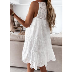 Lace/Solid/Tassel/Hollow-out Sleeveless Shift Above Knee Casual Dresses