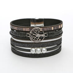 Classic Layered Alloy Imitation Pearls Leather Rope Women's Bracelets