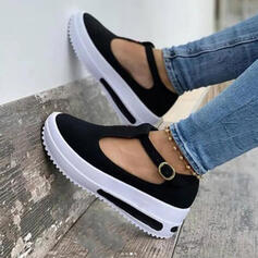 Women's Suede Flat Heel Flats Round Toe With Buckle shoes
