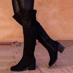 Women's Suede Chunky Heel Boots Over The Knee Boots Heels Round Toe With Zipper Solid Color shoes