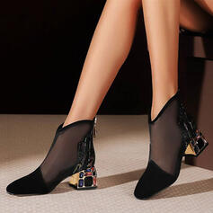 Women's PU Chunky Heel Pumps Ankle Boots Pointed Toe With Stitching Lace Zipper Jewelry Heel shoes