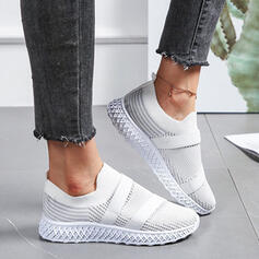 Women's Flying Weave Flat Heel Low Top Sneakers With Solid Color shoes