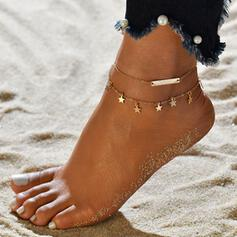 Layered Star Alloy Women's Beach Jewelry Anklets 2 PCS