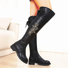 Women's Leatherette Chunky Heel Over The Knee Boots With Lace-up Embroidery Floral Print shoes