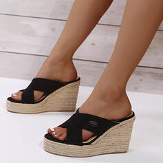 Women's PU Wedge Heel Sandals Platform Wedges Peep Toe Slippers With Hollow-out Solid Color shoes