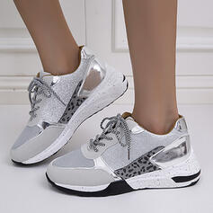 Women's Leatherette Mesh Flat Heel Loafers Sneakers With Lace-up shoes