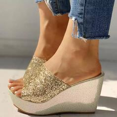 Women's PU Wedge Heel Sandals Wedges With Sequin Sparkling Glitter shoes