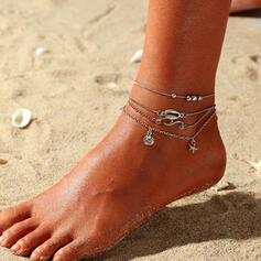 Cool Boho Layered Alloy With Star Women's Ladies' Anklets 4 PCS