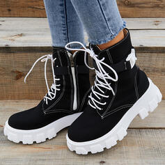 Women's Cloth Chunky Heel Mid-Calf Boots Martin Boots Round Toe With Buckle Zipper Lace-up Solid Color shoes