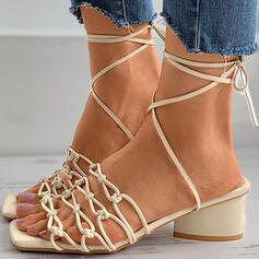 Women's PU Chunky Heel Sandals Pumps Peep Toe Heels With Lace-up Solid Color shoes