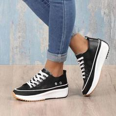 Women's Leatherette Flat Heel Round Toe Sneakers With Rivet Lace-up shoes