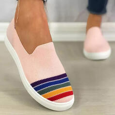 Women's Cloth Flat Heel Flats Round Toe With Splice Color Stripe shoes